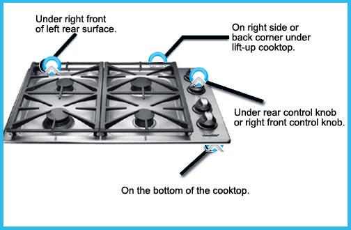 cooktop model number locator