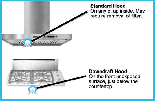 range hood model number locator