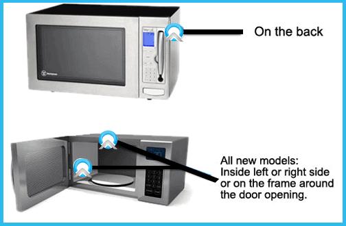 microwave model number locator