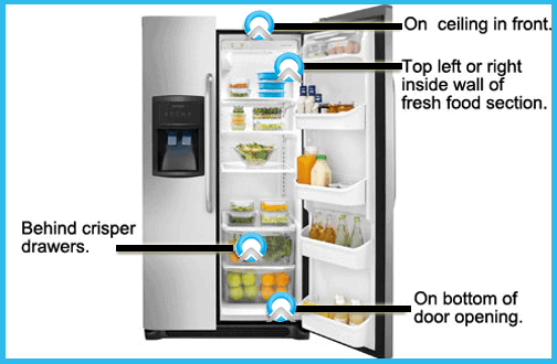 side by side refrigerator model number locator